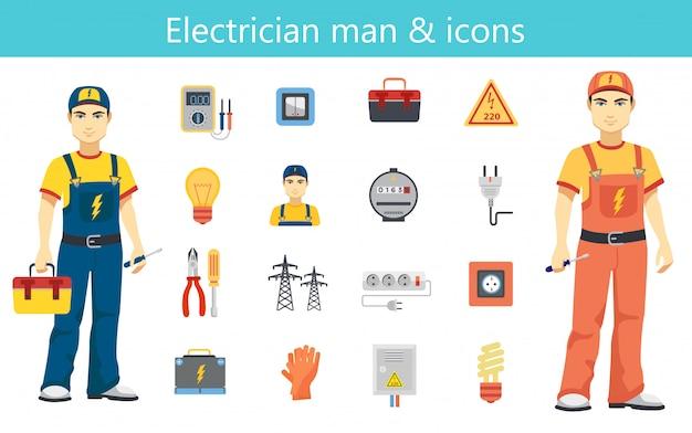Концепция человека электрика и установленные значки цвета плоские изолированными.