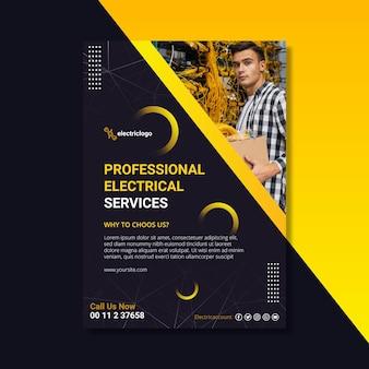 Electrician man flyer template