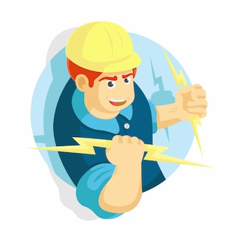 Electrician man holding on a lighting vector illustration