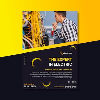Electrician man poster template