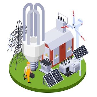 Elettricista vicino alla sottostazione elettrica con pannelli solari e generatore eolico, illustrazione isometrica 3d