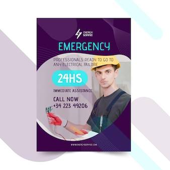 Modello di poster elettricista con foto