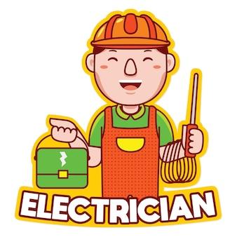 만화 스타일의 전기 직업 마스코트 로고 벡터