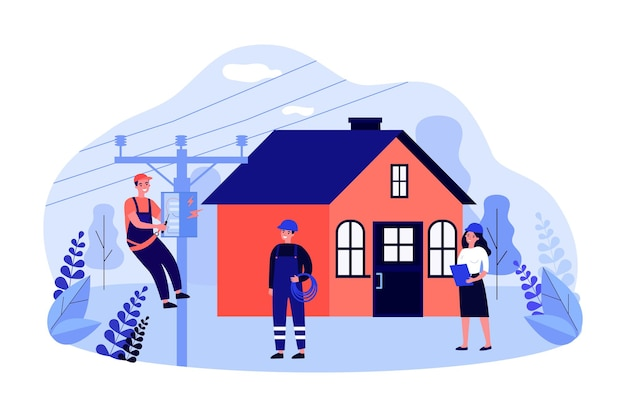 Electrician repairing power box on electric pole near house. team of professional technicians flat vector illustration. electricity maintenance, repair service concept for banner, website design