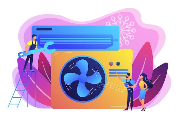 電気技師サービス。エアコンと冷凍サービス、エアコンの設置と修理は、最高の技術者のコンセプトを採用しています。
