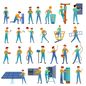 Electrician service icons set, cartoon style