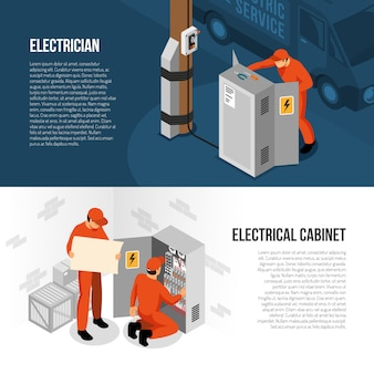 Electrician service isometric horizontal banners with information on switch cabinet panel control and replacing vector illustration