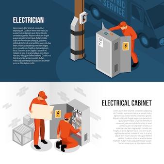 Insegne orizzontali isometriche di servizio dell'elettricista con informazioni sul controllo del pannello del gabinetto del commutatore e sulla sostituzione dell'illustrazione di vettore