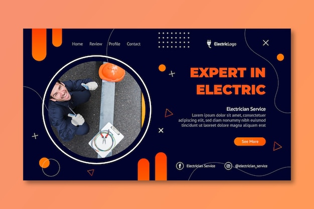 Modello di pagina di destinazione del servizio di elettricista