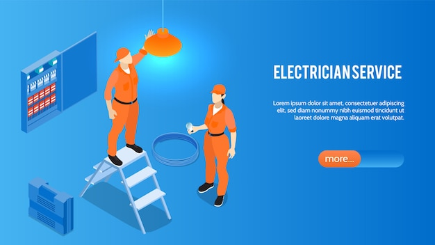 Electrician service online isometric website home page banner with home electric appliances installation repair maintenance