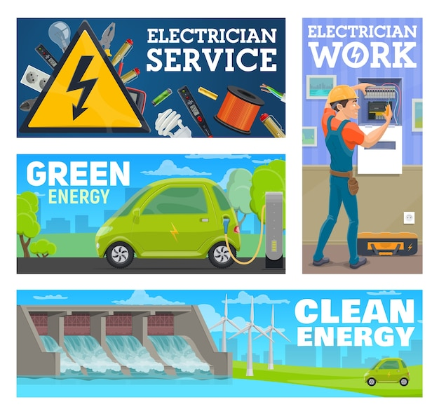 Electrician service worker and clean