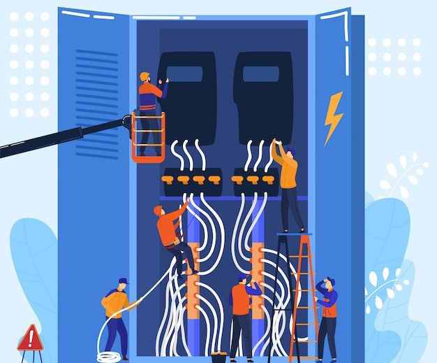 Electrician team work with electrical panel, tiny people cartoon characters concept,  illustration
