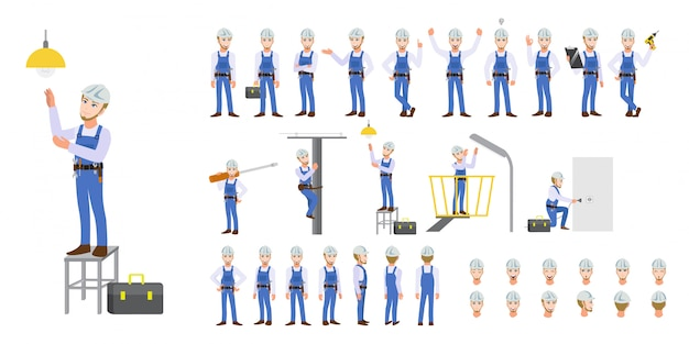 Electrician technician worker cartoon character set and animation