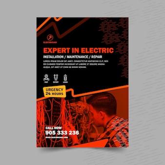 Modello di volantino verticale elettricista