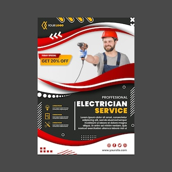 Electrician vertical flyer template