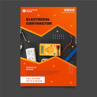 Electrician vertical poster template