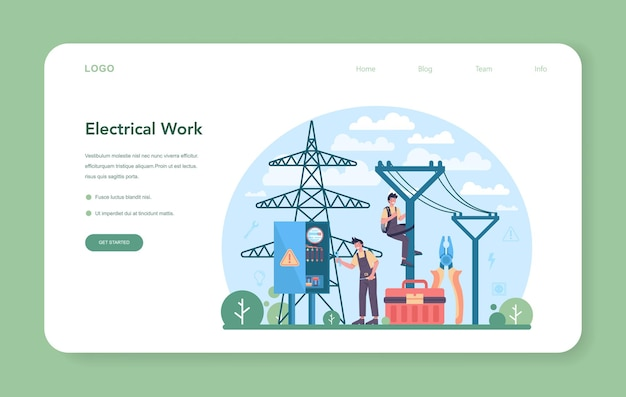 Electrician web banner or landing page electricity works service worker