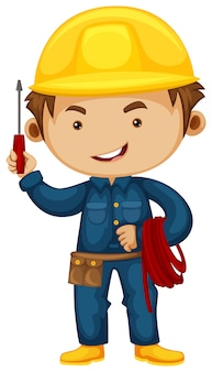 Electrician with screwdriver and helmet