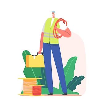 ツールを持つ電気技師。男性キャラクターは制服とヘルメットを着用し、メンテナンスと修理作業の準備ができています。機器、ケーブル、ツールボックスを持った便利屋。漫画の人々のベクトル図