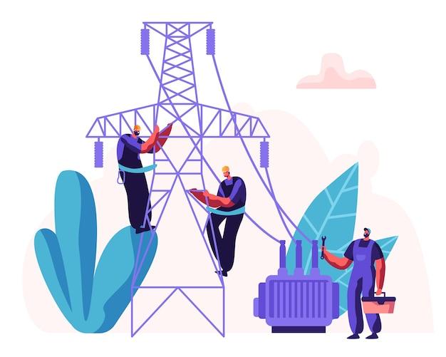 전력선을 수리하는 전기 노동자. 배선 유지 보수 작업에서 제복을 입은 수리공 엔지니어와 전기 시설 개념.