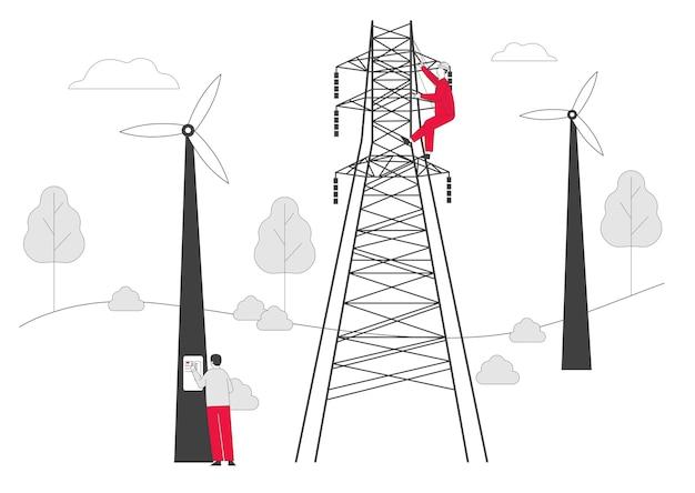 Электрики с инструментами и оборудованием техническое обслуживание башни электропередачи