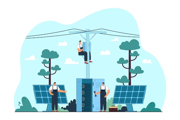 Electricians repairing electrical and solar panels on streets. flat illustration