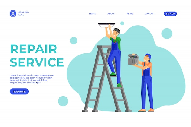 Electricians services flat landing page template. workman fitting lamp to ceiling standing on ladder, assistant holding toolbox. house renovation handymen team promotional website page layout