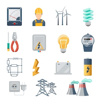 電気および電力業界のアイコンフラットセット。変圧器とソケット、プラグと容量、エネルギー記号、