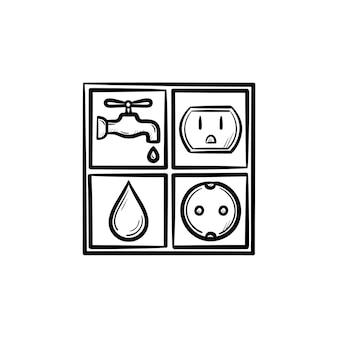 전기 및 물 표지판 손으로 그린 개요 낙서 아이콘. 흰색 배경에 고립 된 인쇄, 웹, 모바일 및 infographics에 대 한 소켓 및 워터 드롭 벡터 스케치 그림.