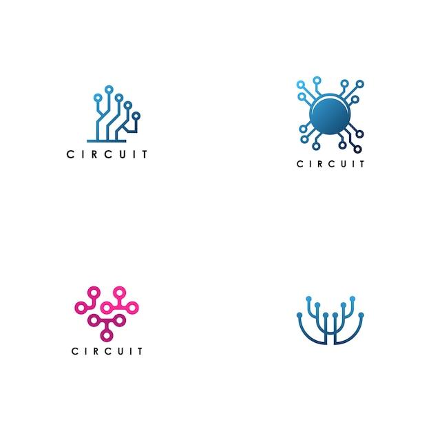 Electricity circuit logo set vector