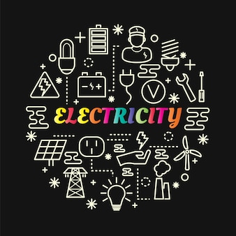 Electricity colorful gradient with line icons set