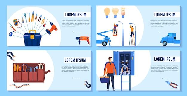 Электричество, электроинструменты, набор баннеров для оборудования, иллюстрации.