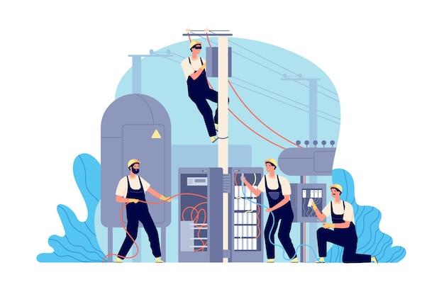 Electricity energy maintenance. technician electric work, generator transformer service engineer. man repairs box power vector illustration. electrician maintenance, electricity technician engineer