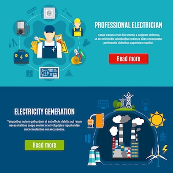 Electricity horizontal banners