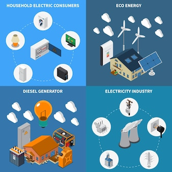 Electricity household consumption supply eco energy and diesel power industrial generators concept 4 isometric compositions