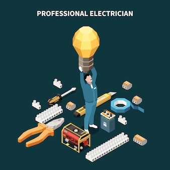 Электричество изометрическая композиция с концептуальными изображениями электрооборудования профессиональных инструментов и мужской персонаж, держащий лампу