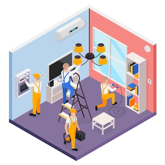 Electricity isometric composition with electricians checking and installing electrical equipment 3d