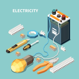 Electricity isometric composition with images of electric equipment and tools with accumulator battery connected to lamp