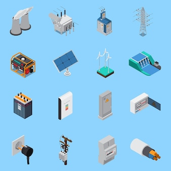 Electricity isometric icons set with cable solar panels wind hydro power generators transformer socket isolated