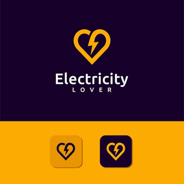 Electricity lover logo with thunder