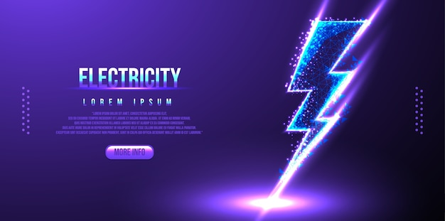 Electricity low poly wireframe