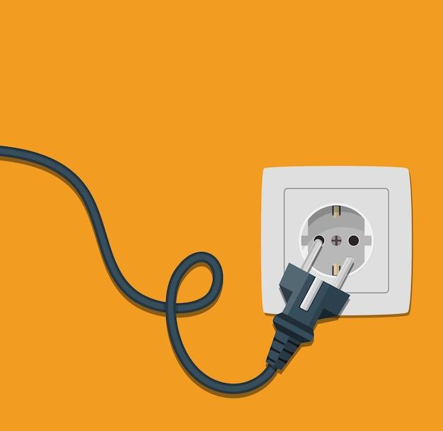 Electricity plug and socket on orange