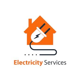 Ремонт и техническое обслуживание электричества, дом и вилка с проводом, электробезопасность, плоская иллюстрация дизайна