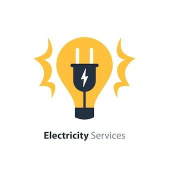 Услуги по ремонту и техническому обслуживанию электричества, лампочка и вилка, электробезопасность, плоский дизайн иллюстрации
