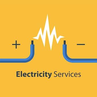 Услуги по ремонту и техническому обслуживанию электричества, два неизолированных провода, иллюстрация