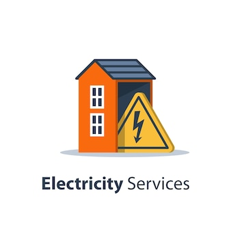 Electricity repair and maintenance services, house with high voltage triangle sign, electric safety, flat design, illustration