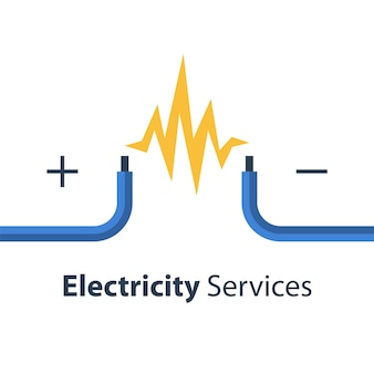 Electricity repair and maintenance services, two bare wires, illustration