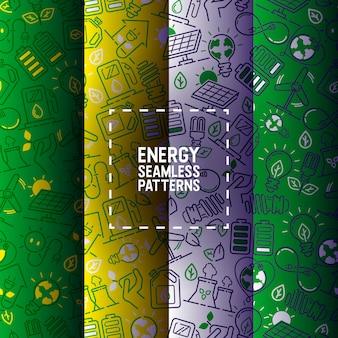 ソーラーパネルの電気シームレスパターン電力電球エネルギー