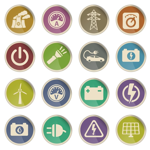 Electricity simply symbols for web icon set