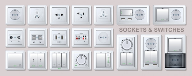 Electricity socket   realistic set icon.